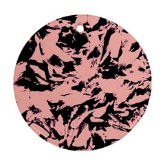 Old Rose Black Abstract Military Camouflage Ornament (round)