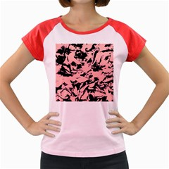 Old Rose Black Abstract Military Camouflage Women s Cap Sleeve T Shirt