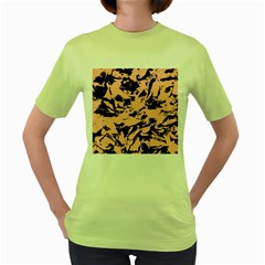 Old Rose Black Abstract Military Camouflage Women s Green T Shirt