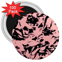 Old Rose Black Abstract Military Camouflage 3  Magnets (100 Pack)