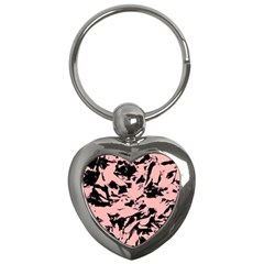 Old Rose Black Abstract Military Camouflage Key Chains (heart)