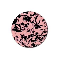 Old Rose Black Abstract Military Camouflage Rubber Coaster (round)