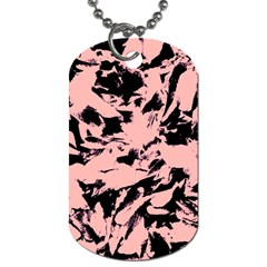 Old Rose Black Abstract Military Camouflage Dog Tag (one Side)