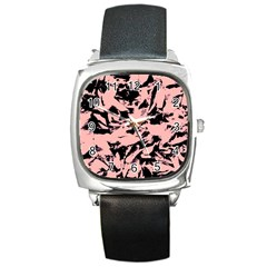 Old Rose Black Abstract Military Camouflage Square Metal Watch