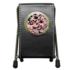 Old Rose Black Abstract Military Camouflage Pen Holder Desk Clocks
