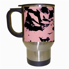 Old Rose Black Abstract Military Camouflage Travel Mugs (white)