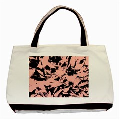 Old Rose Black Abstract Military Camouflage Basic Tote Bag