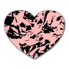 Old Rose Black Abstract Military Camouflage Heart Mousepads