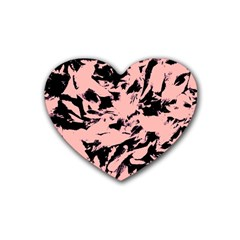 Old Rose Black Abstract Military Camouflage Rubber Coaster (heart)