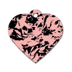 Old Rose Black Abstract Military Camouflage Dog Tag Heart (one Side)