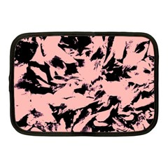 Old Rose Black Abstract Military Camouflage Netbook Case (medium)