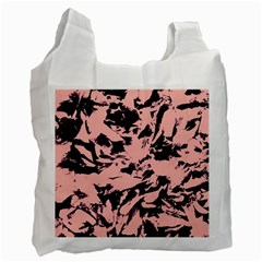 Old Rose Black Abstract Military Camouflage Recycle Bag (two Side)