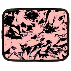 Old Rose Black Abstract Military Camouflage Netbook Case (xl)