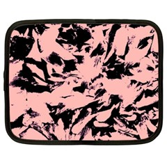 Old Rose Black Abstract Military Camouflage Netbook Case (xxl)