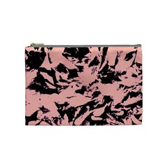 Old Rose Black Abstract Military Camouflage Cosmetic Bag (medium)