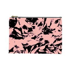 Old Rose Black Abstract Military Camouflage Cosmetic Bag (large)