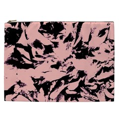 Old Rose Black Abstract Military Camouflage Cosmetic Bag (xxl)