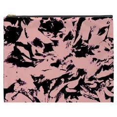 Old Rose Black Abstract Military Camouflage Cosmetic Bag (xxxl)