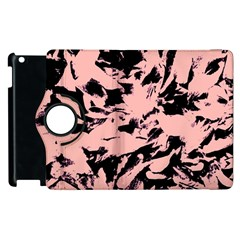 Old Rose Black Abstract Military Camouflage Apple Ipad 2 Flip 360 Case