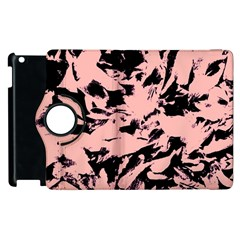 Old Rose Black Abstract Military Camouflage Apple Ipad 3/4 Flip 360 Case
