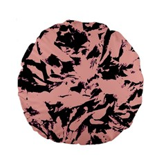 Old Rose Black Abstract Military Camouflage Standard 15  Premium Round Cushions