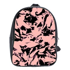 Old Rose Black Abstract Military Camouflage School Bag (xl)