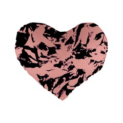 Old Rose Black Abstract Military Camouflage Standard 16  Premium Heart Shape Cushions
