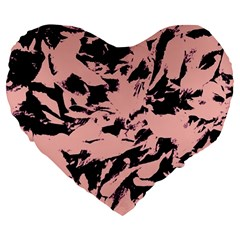 Old Rose Black Abstract Military Camouflage Large 19  Premium Heart Shape Cushions