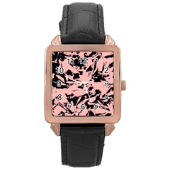 Old Rose Black Abstract Military Camouflage Rose Gold Leather Watch