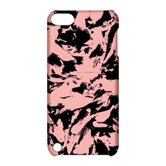 Old Rose Black Abstract Military Camouflage Apple Ipod Touch 5 Hardshell Case With Stand