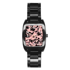 Old Rose Black Abstract Military Camouflage Stainless Steel Barrel Watch