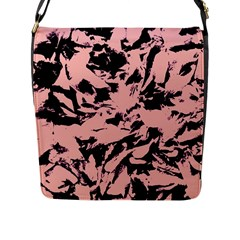 Old Rose Black Abstract Military Camouflage Flap Messenger Bag (l)
