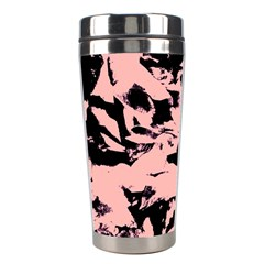 Old Rose Black Abstract Military Camouflage Stainless Steel Travel Tumblers