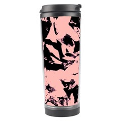 Old Rose Black Abstract Military Camouflage Travel Tumbler