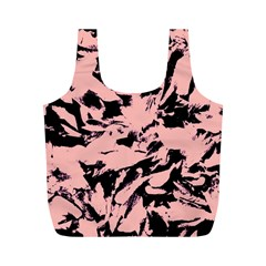 Old Rose Black Abstract Military Camouflage Full Print Recycle Bags (m)