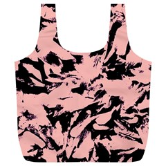 Old Rose Black Abstract Military Camouflage Full Print Recycle Bags (l)