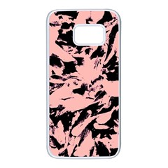Old Rose Black Abstract Military Camouflage Samsung Galaxy S7 White Seamless Case