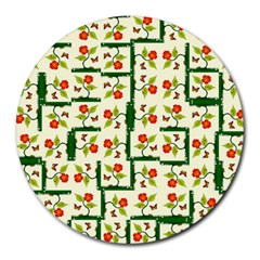 Plants And Flowers Round Mousepads