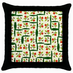 Plants And Flowers Throw Pillow Case (black)