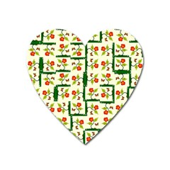 Plants And Flowers Heart Magnet