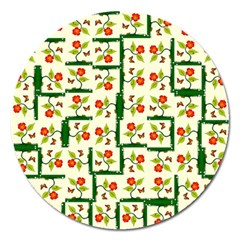 Plants And Flowers Magnet 5  (round)