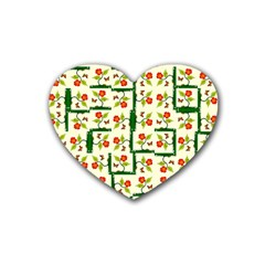 Plants And Flowers Rubber Coaster (heart)