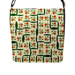 Plants And Flowers Flap Messenger Bag (l)