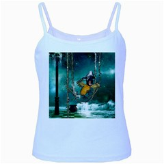 Funny Pirate Parrot With Hat Baby Blue Spaghetti Tank