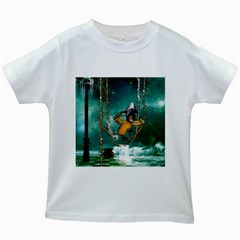 Funny Pirate Parrot With Hat Kids White T Shirts