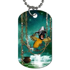 Funny Pirate Parrot With Hat Dog Tag (two Sides)