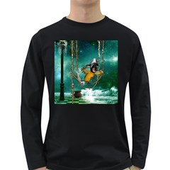 Funny Pirate Parrot With Hat Long Sleeve Dark T Shirts