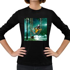 Funny Pirate Parrot With Hat Women s Long Sleeve Dark T Shirts