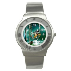 Funny Pirate Parrot With Hat Stainless Steel Watch