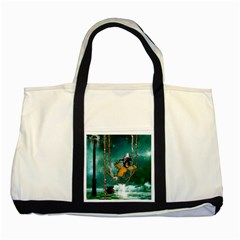 Funny Pirate Parrot With Hat Two Tone Tote Bag